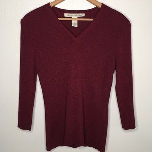 French Laundry Red Ribbed V-Neck Sweater SzL